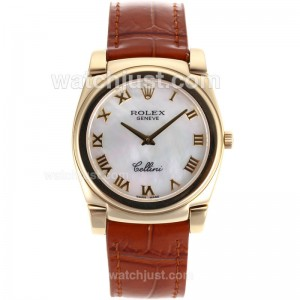 Replica Rolex Cellini Full Gold Case Roman Markers With White Mop Dial Brown Leather Strap Watch