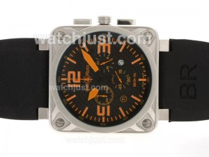 Replica Bell & Ross Br 01 94 Working Ar Coating With Orange Marking Rubber Strap Watch