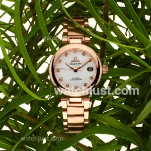 Replica Omega Ladymatic Diamond Markers Full Rose Gold With White Dial Lady Size(gift Boxes Included) Watch