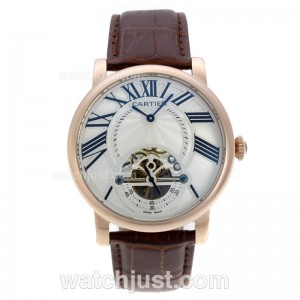 Replica Cartier Calibre De Cartier Tourbillon Automatic Rose Gold Case