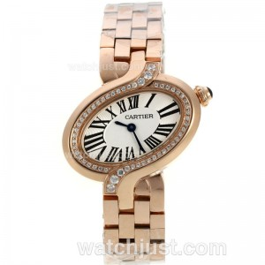 Replica Cartier Delices De Cartier Full Rose Gold Diamond Bezel