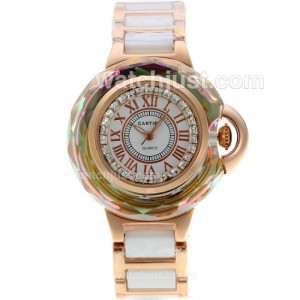 Replica Cartier Ballon Bleu De Cartier Rose Gold Case Diamond Bezel