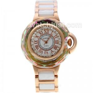 Replica Cartier Ballon Bleu De Cartier Rose Gold Case Diamond Bezel
