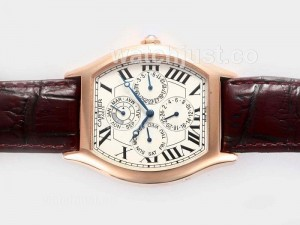Replica Cartier Tortue Quantieme Perpetual Automatic Rose Gold Case
