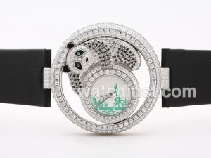 Replica Cartier Ballon Bleu De Cartier Swiss Eta Movement Full Diamonds Panda Edition Watch