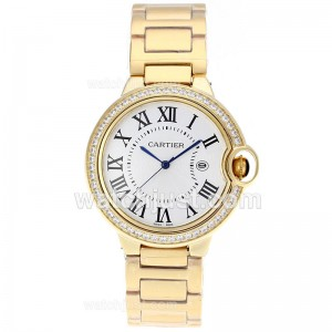 Replica Cartier Ballon Bleu De Cartier Full Gold Diamond Bezel