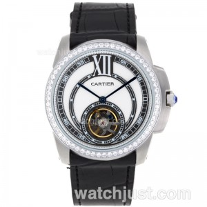 Replica Cartier Calibre De Cartier Tourbillon Automatic Diamond Bezel