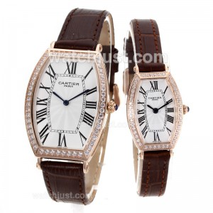 Replica Cartier Tonneau Rose Gold Case Diamond Bezel