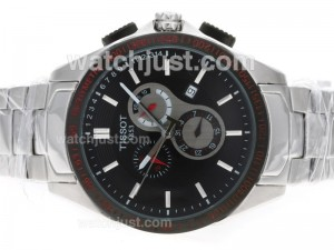 Replica Tissot Michael Owen Prc200 Working Pvd Bezel With Black Dial S/s Watch