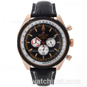 Replica Breitling Chrono Matic Working Rose Gold Case With Black Dial Leather Strap Watch