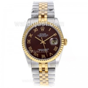 Replica Rolex Datejust Swiss Eta 2836 Movement Two Tone Roman Markers With Brown Dial Watch